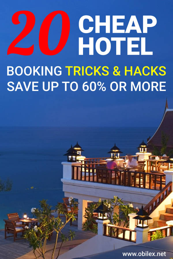 "Pinterest pin with text overlay ""20 cheap hotel booking tricks and hacks, save up to 60% or more"""